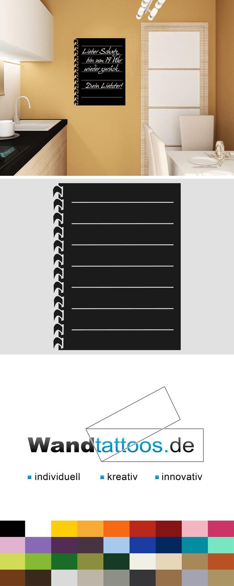 Tafelfolie Spiralblock für die Küche Wandtattoo   Tafelfolie ...