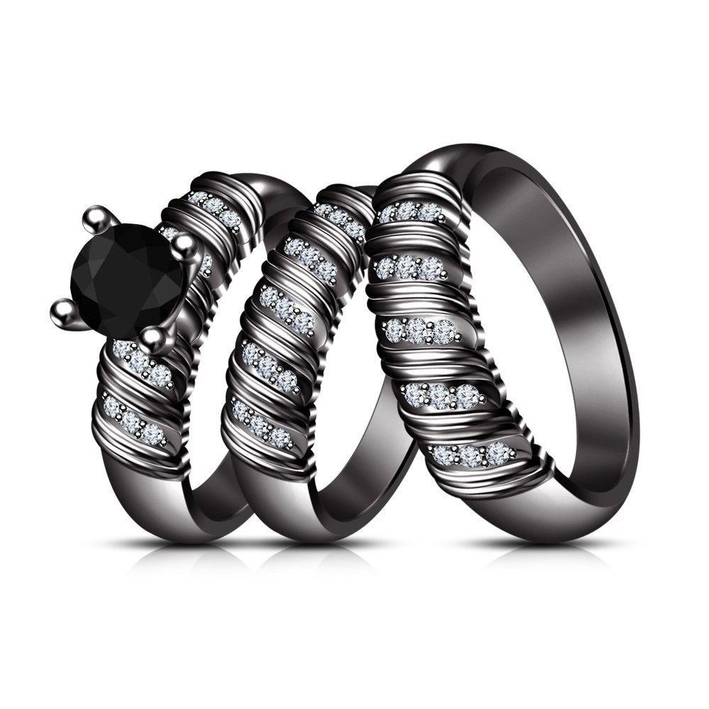 Black Gold Fn 925 Silver Rd Sim Diamond His Her Ladies Wedding Ring Trio Set
