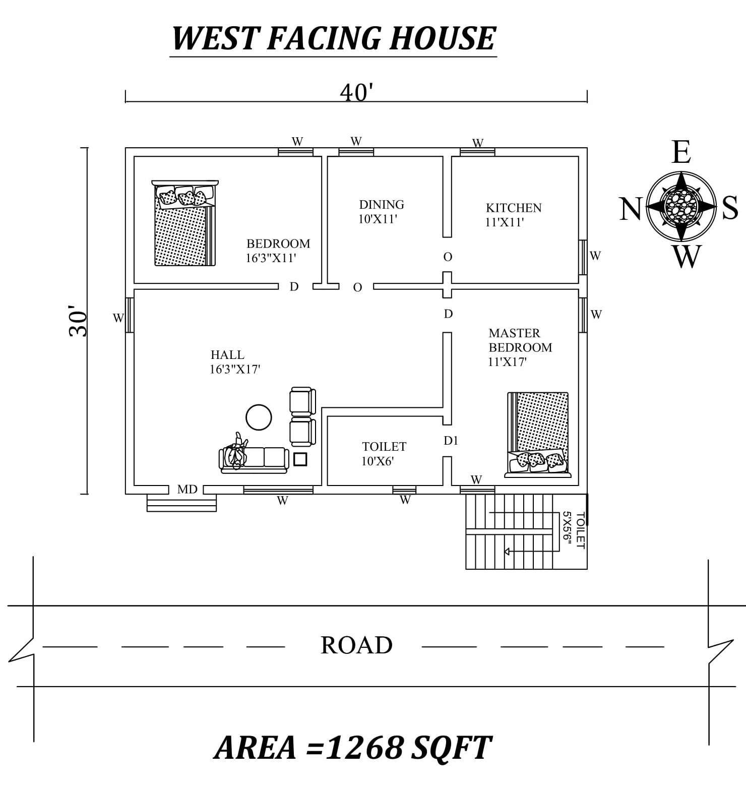 40 x30 Marvelous 2bhk West facing House Plan As Per Vastu Shastra Autocad DWG and Pdf file details