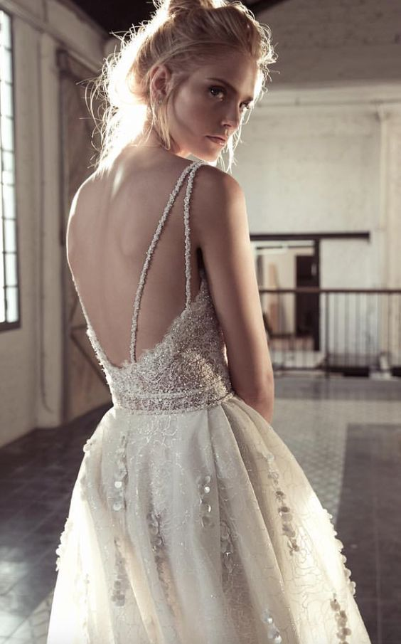 Beaded Double Spaghetti Strap Open Back Wedding Dress | Wedding ...