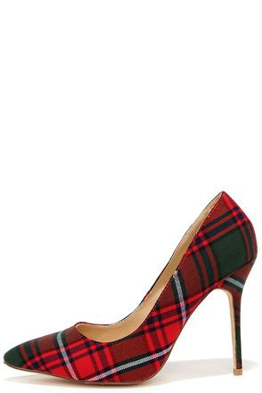 c5c62e49eea Who's Plaid! Red Plaid Pumps | Sole Cool | Red high heel shoes, Red ...