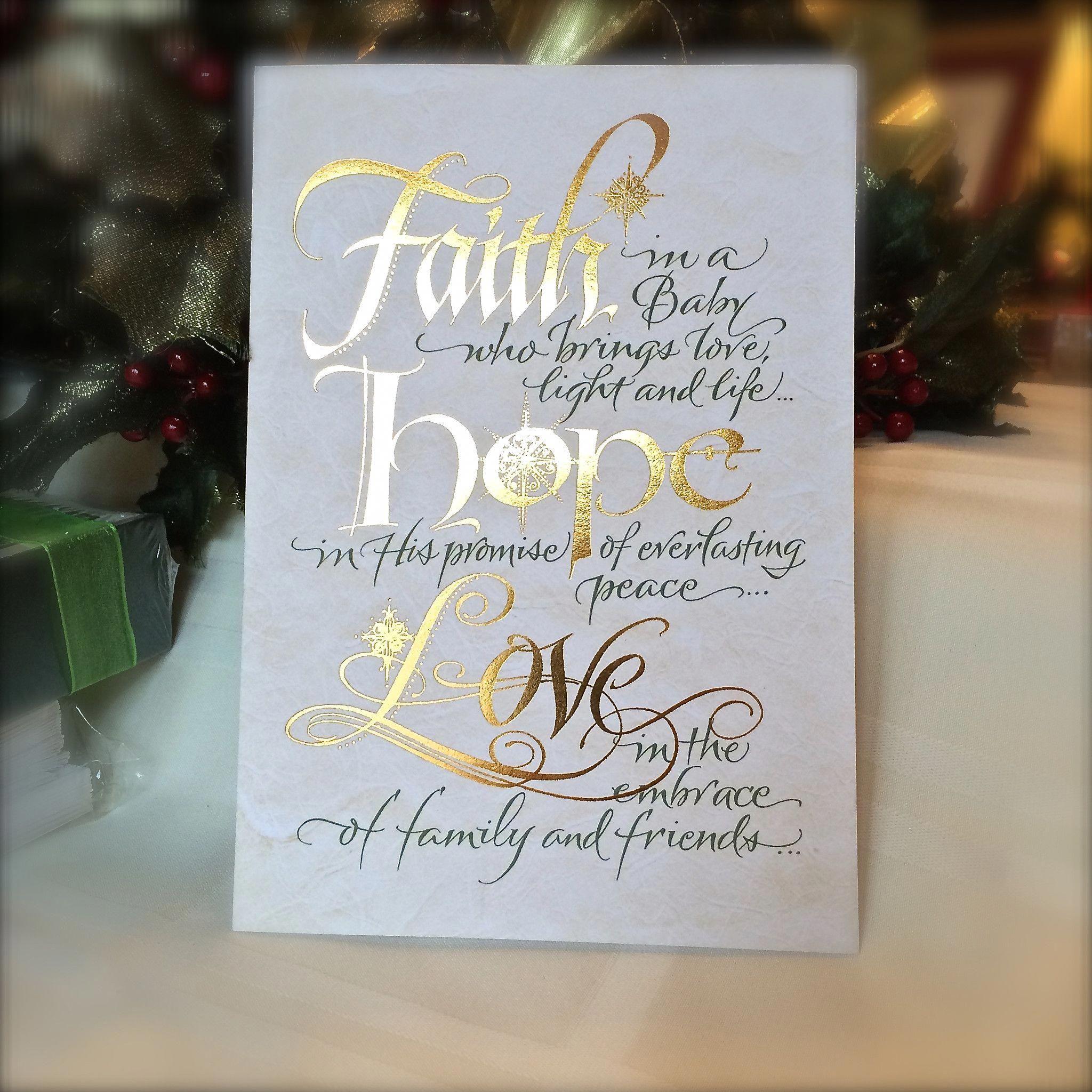 Faith Hope Love Christmas Gold Foil Calligraphy Card Holly