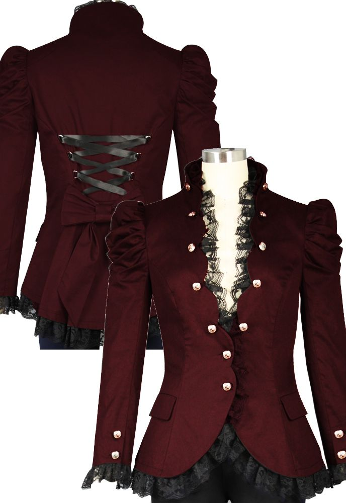 48ffef2654b Victorian Gothic Lace Trim Corset Jacket in Cotton Twill --Chic Star design  by Amber Middaugha and Alexis Wilt