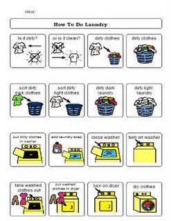 Visual Schedule To Teach Laundry Skills Life Skills Special