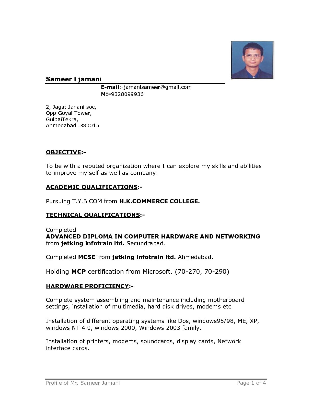 Resume Format On Word Sample Resume Format Word Ec  Resume