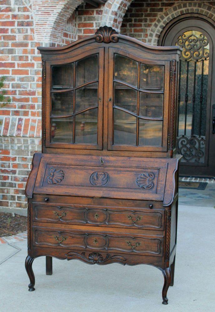 Antique French Oak Louis XV Style Secretary Fall Front Desk Bookcase  Cabinet #LouisXIIIXIVXVXVI - Antique French Oak Louis XV Style Secretary Fall Front Desk