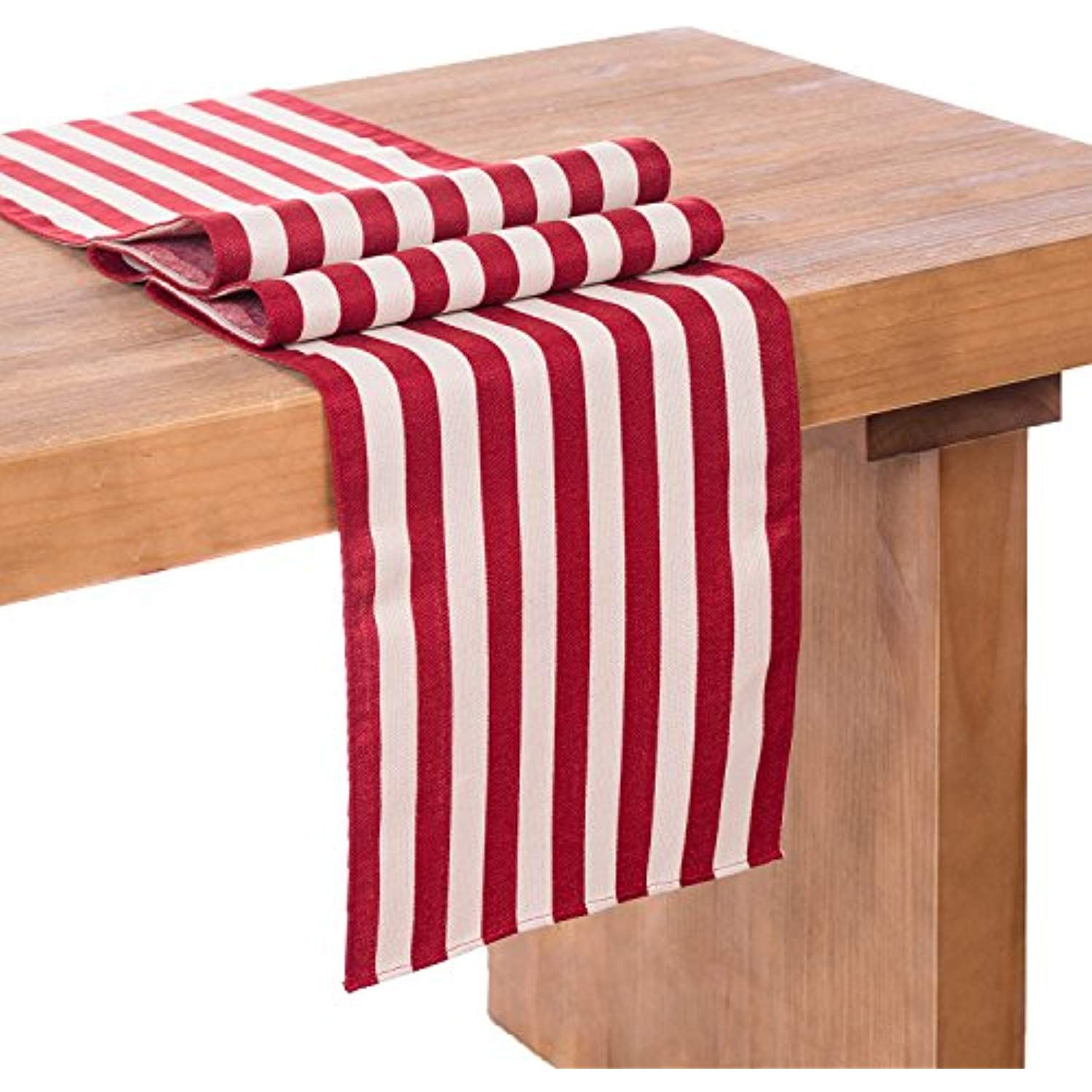 Ling S Moment 12 X 72 Inches Beige And Dark Red Striped Burlap Table Runner For Fall W Kitchen Table Decor Farmhouse Table Runners Linen Table Runner
