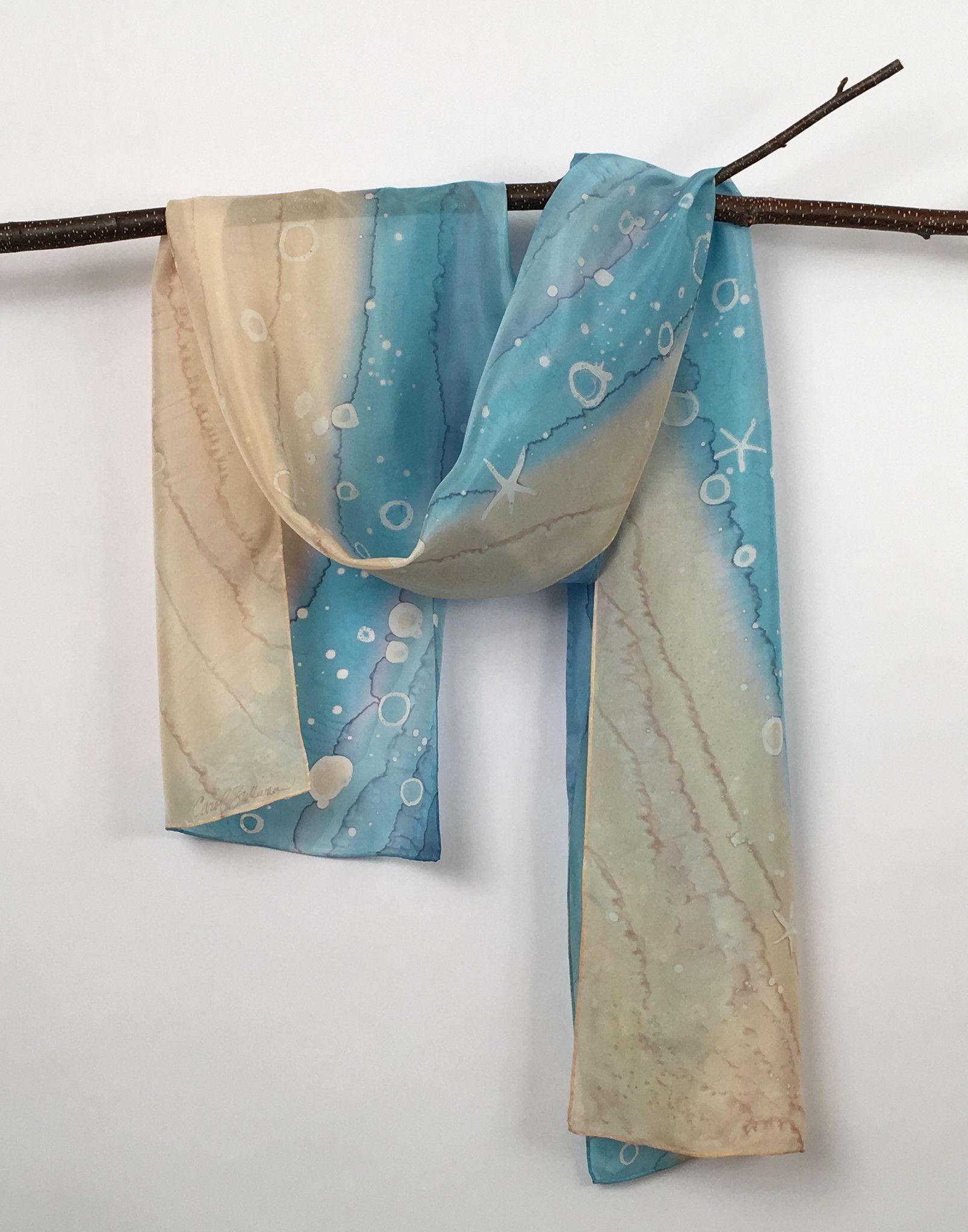 """Surf Zone"" - Hand-dyed Silk Scarf - $90"