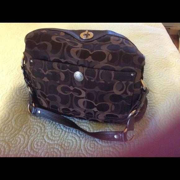 Coach Pocketbook In shades of brown. Great everyday handbag,very roomy. Bags Satchels