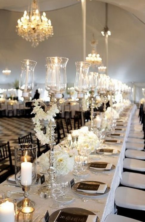 Elegant Black And White Wedding Table Settings Black