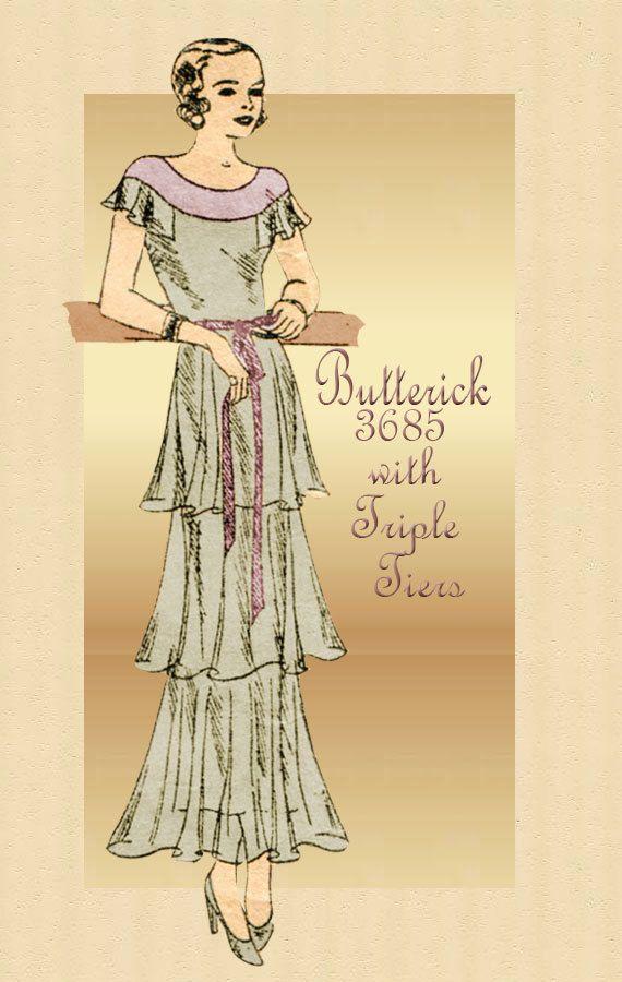 1930s Dress Pattern Butterick 3685 Vintage After Five Evening Dress ...