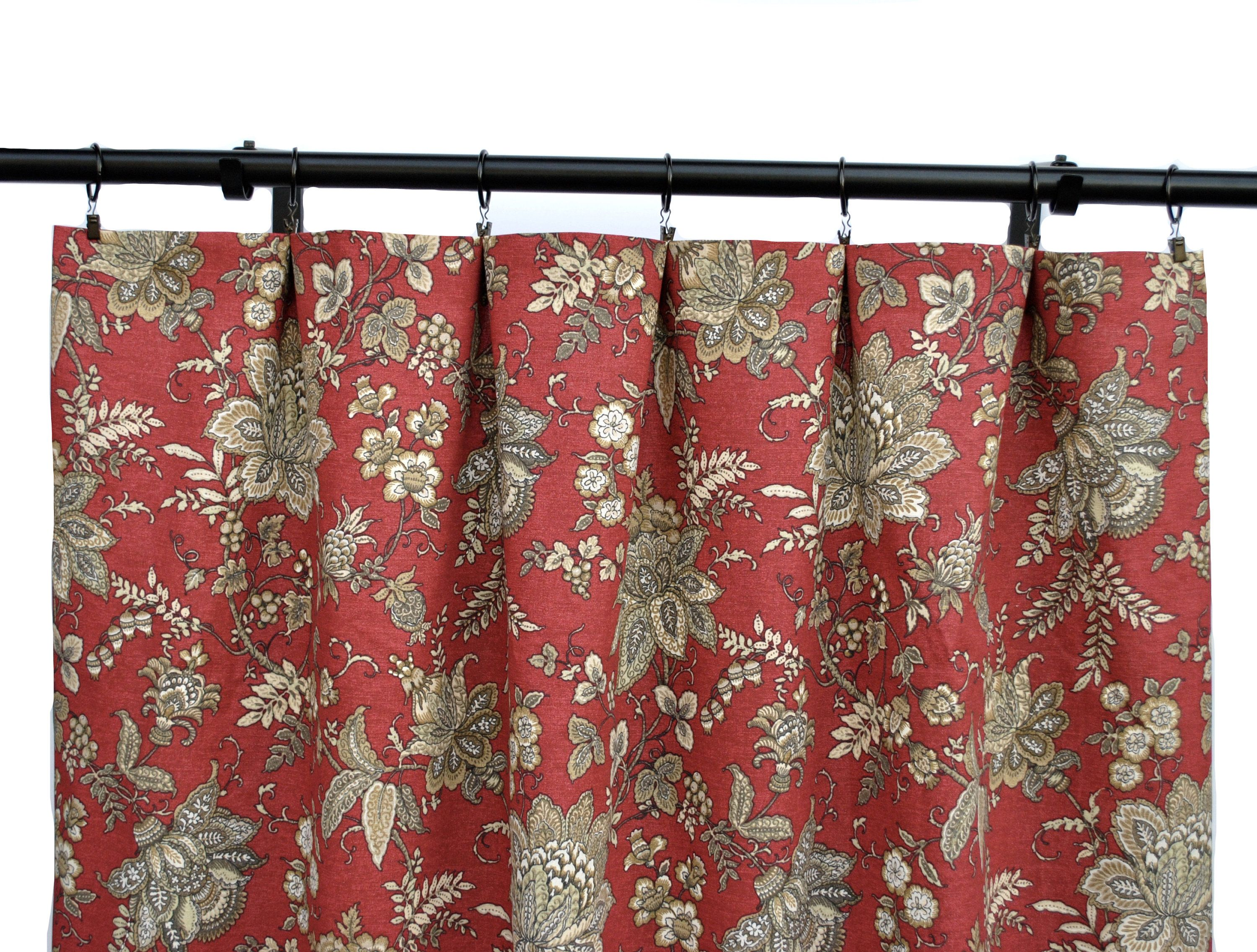 Magnolia Red Floral Curtains Dark Red Curtain 2 Curtain Panels