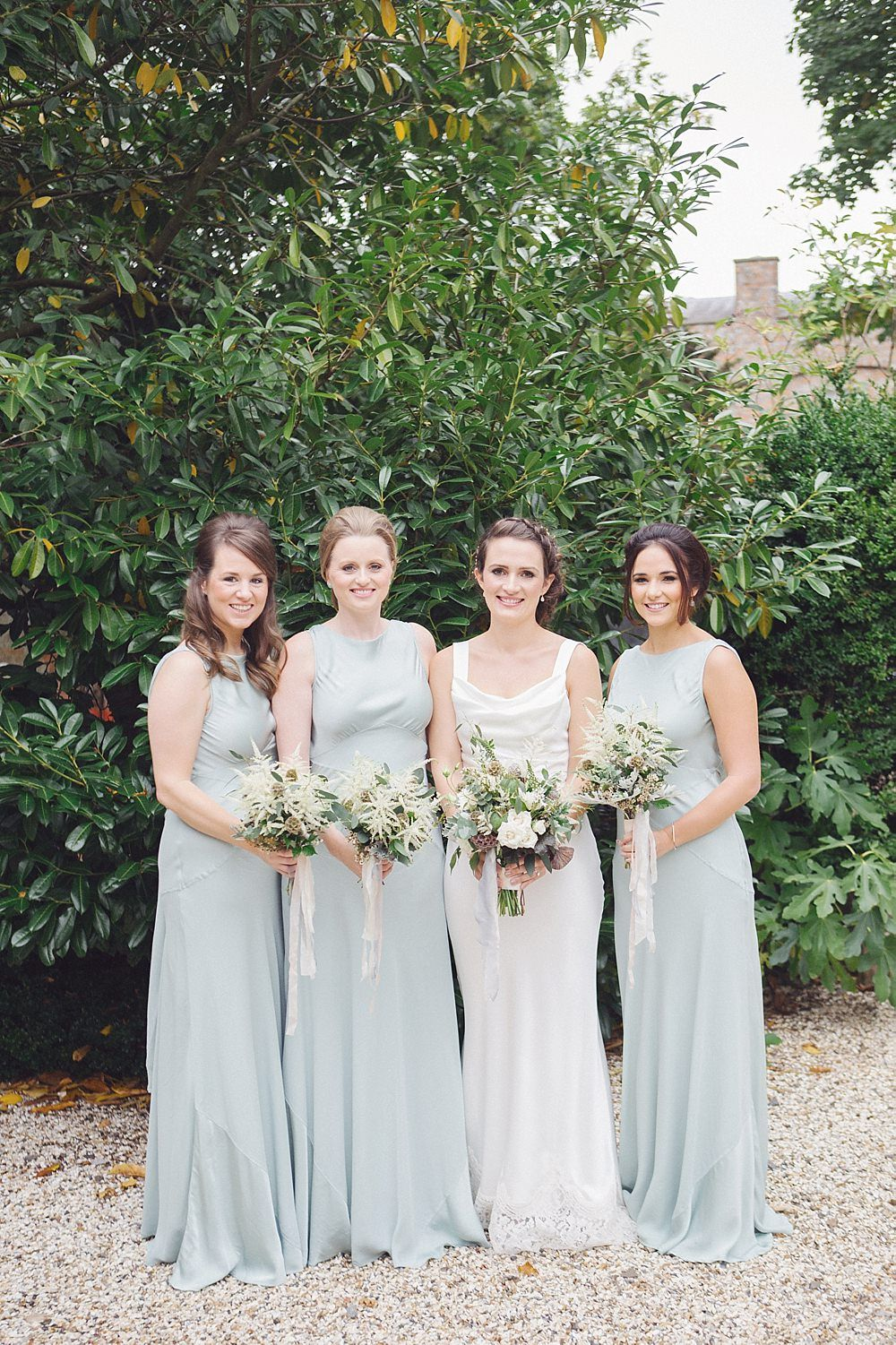 Elegant pale green white rustic wedding at wasing park parks bridesmaid ombrellifo Choice Image