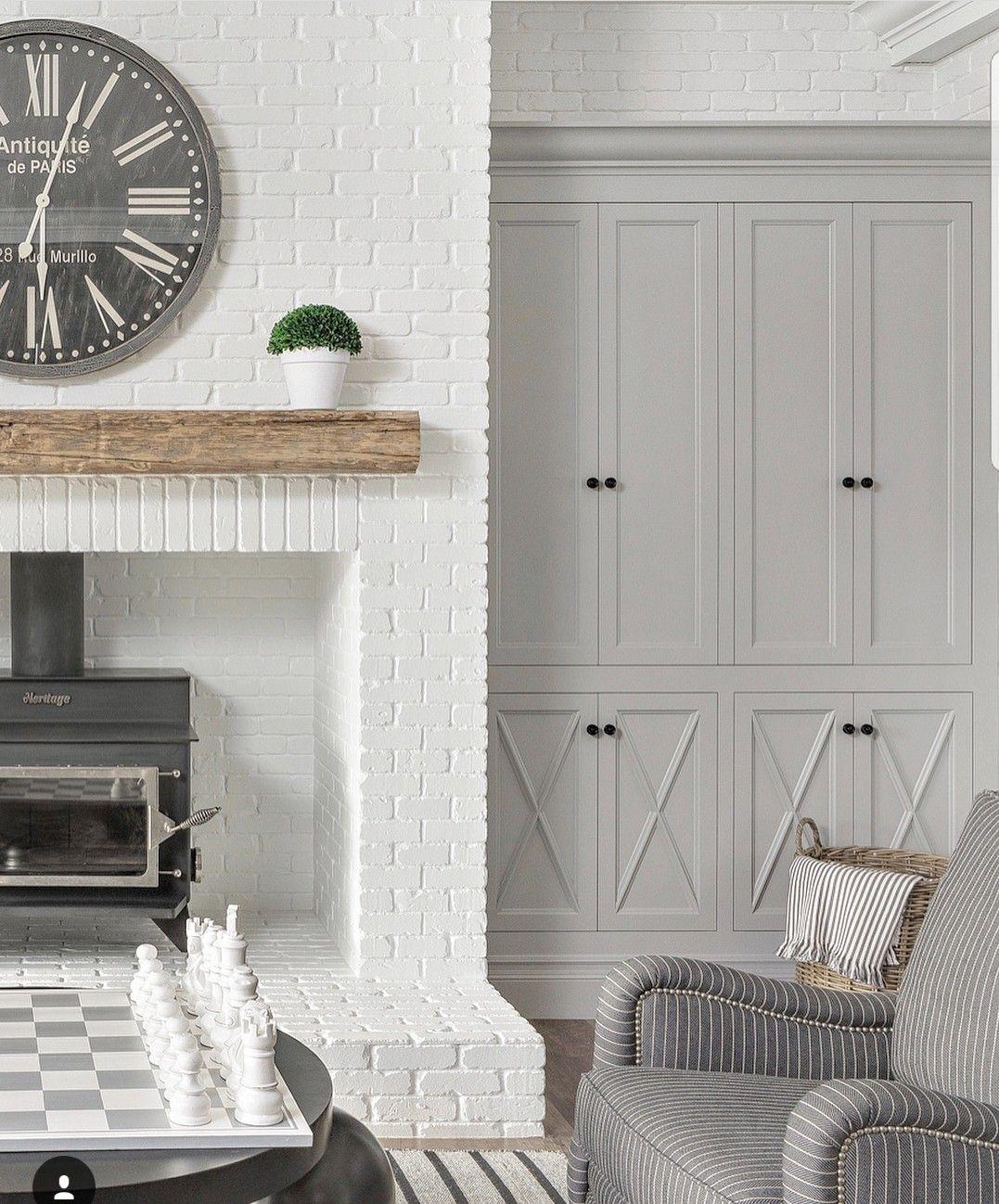 White Dove Trim And Brick Fireplace Bm Metropolitan Paint Colour