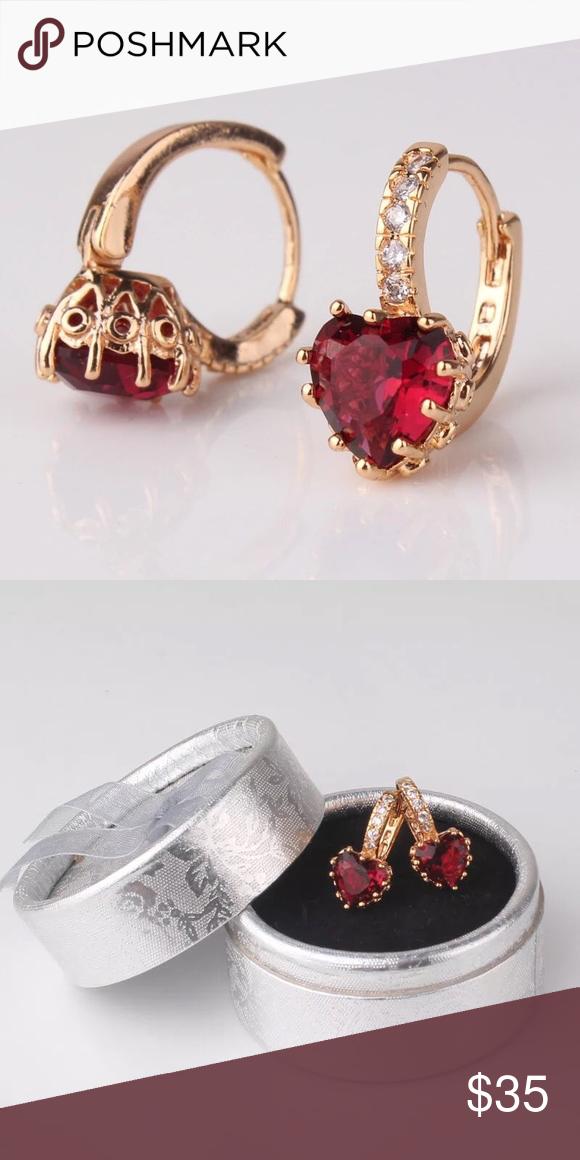 Women's Red Stone Earrings Fashion Lady's Hoop Earings Gold-Color AAA Zirconia Crystal Huggie Earring for Women Accessories Queen Esther Etc Jewelry Earrings
