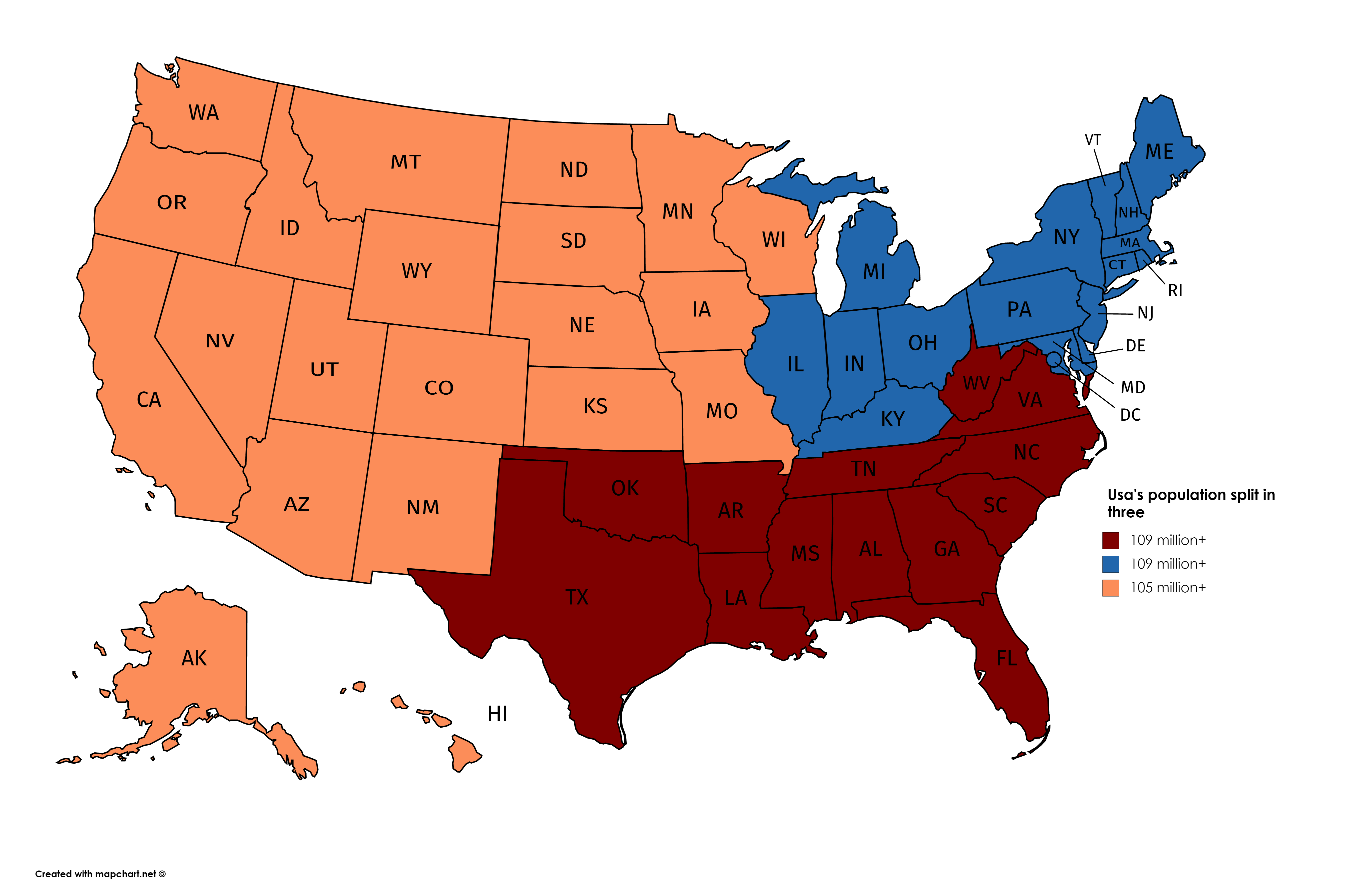 Usa S Population Divided Into Three North South West