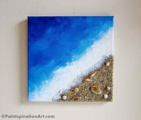 Beach painting ocean decor with real sand and by for Texture painting ideas canvas