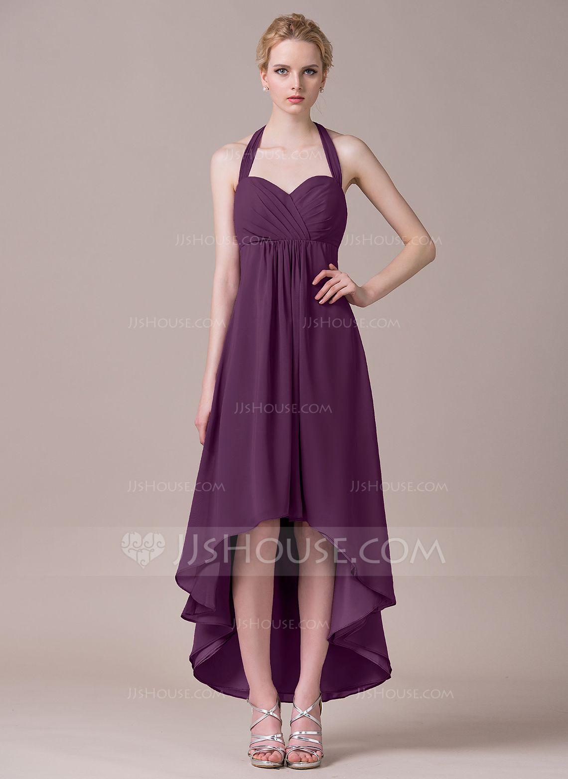 A-Line/Princess Halter Asymmetrical Chiffon Bridesmaid Dress With ...