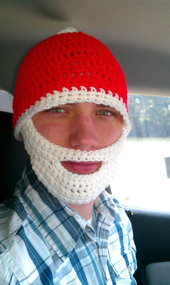 Crochet Santa hat with Beard | Gorros, Patrones y Santos