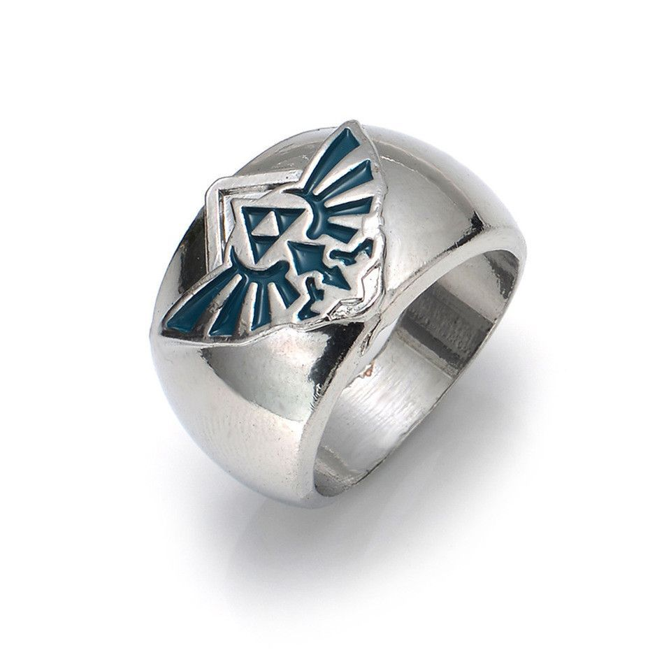 New Retail 1pc Anime The Legend of Zelda the Triforce Zelda Logo Ring Triforce silver Metal Figure Fashion Ring anime Clothing