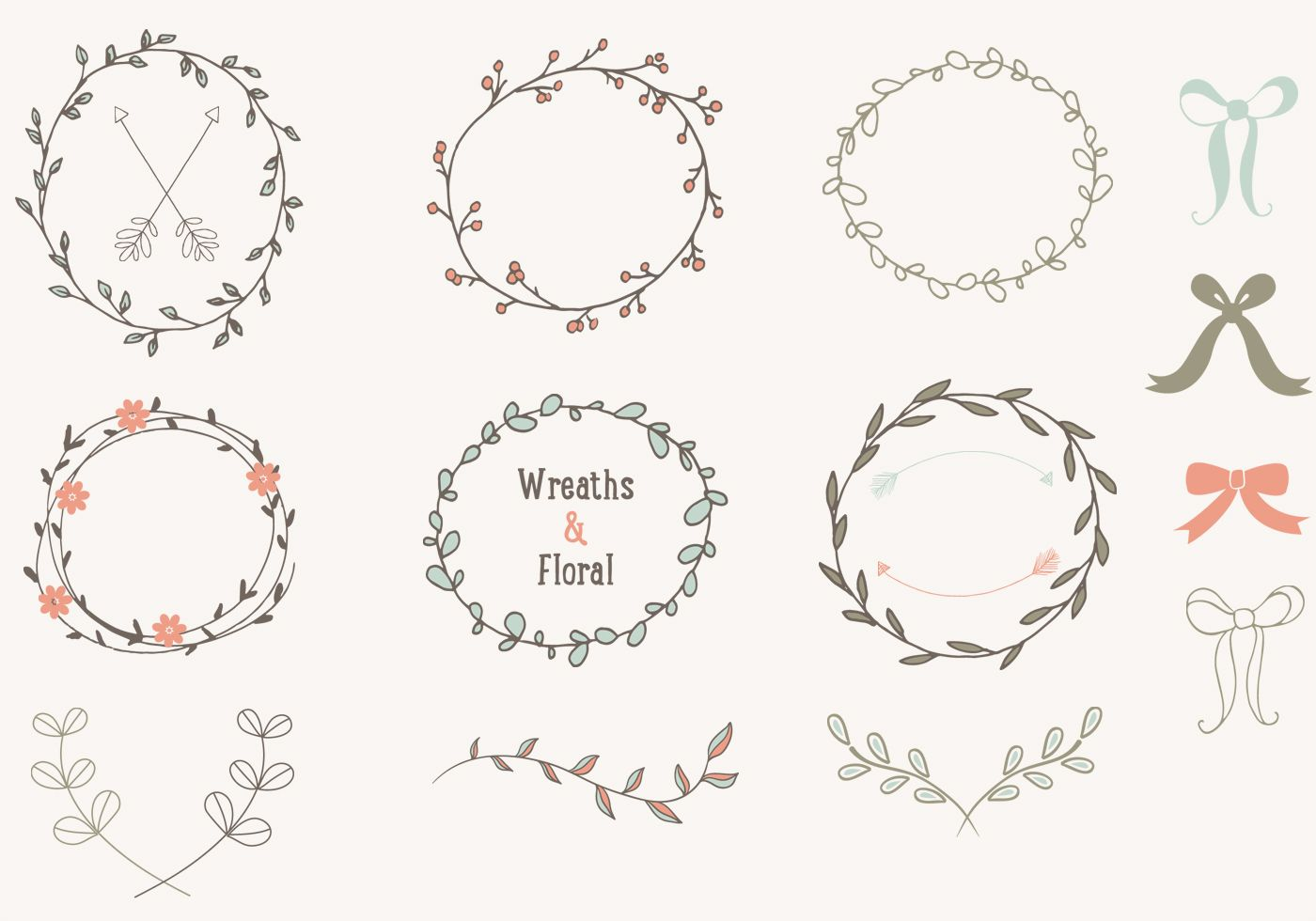 Hand Drawn Laurels Wreaths Vector Collection | Bullet ...