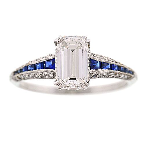 Gorgeous platinum Deco style diamond engagement ring with diamonds and sapphires