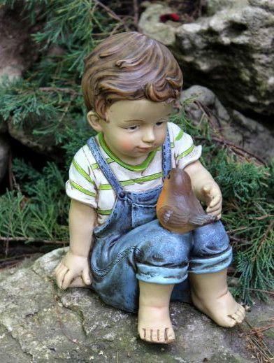 Solar Boy Sitting With Bird Statue Figurine Garden