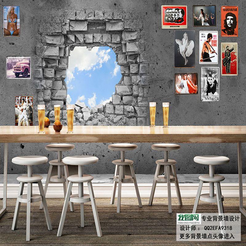 Large 3D Creative Wallpaper Sky Broken Brick Mural Wallpaper KTV Bar  Background Wall Paper Restaurant Cafe