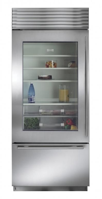 I\'m always drawn to a glass-front fridge--probably so impractical ...