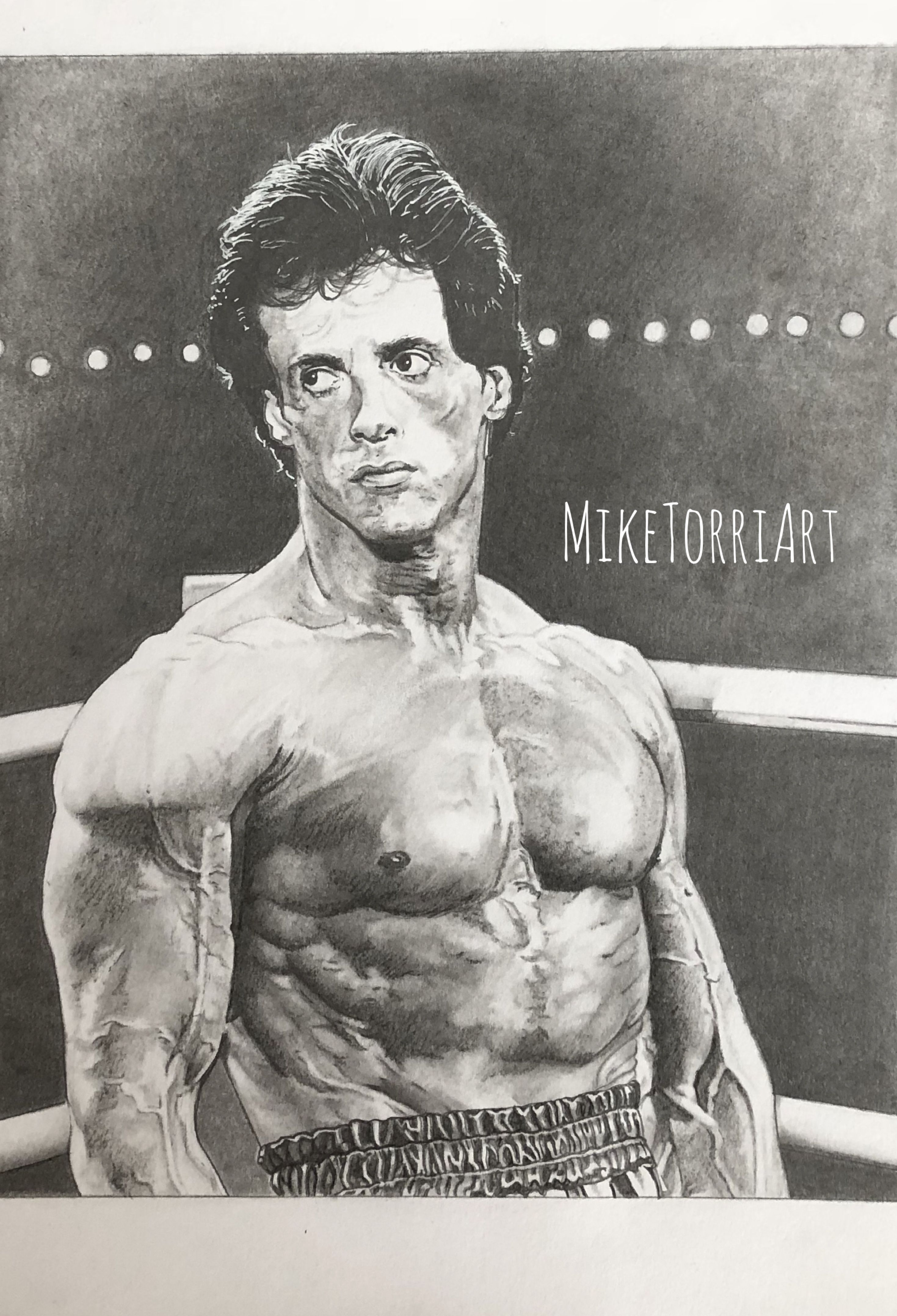 Pencil Drawing Of Sylvester Stallone As Rocky Balboa In Rocky Iii