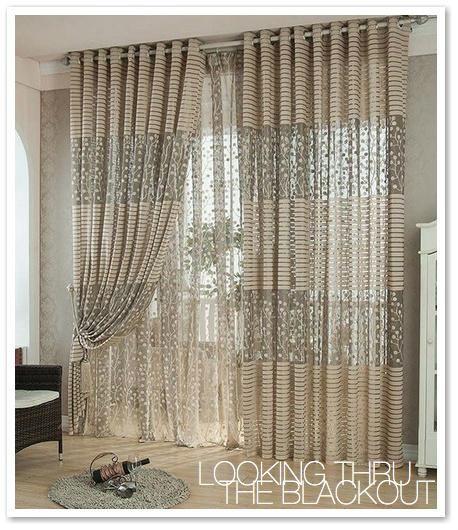 2 Layer Sheer Sheer Blackout Curtain Set Valances For Living