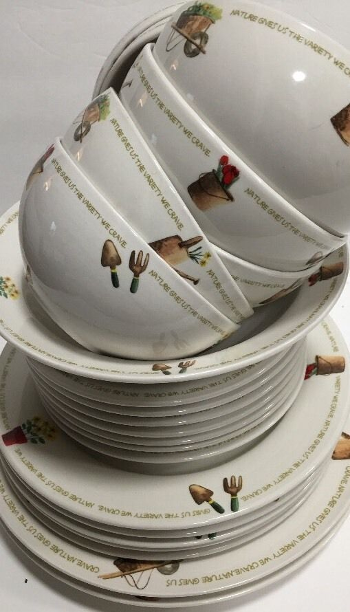 Thomson Pottery My Garden 22 Pc Dinnerware Set Garden Items Flowers Word Band Ebay Thomson Pottery White Dinnerware Home Trends