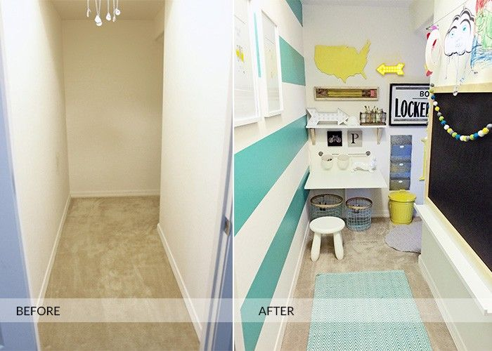 Before and After Design for an under the stairs closet turned art studio, homework station