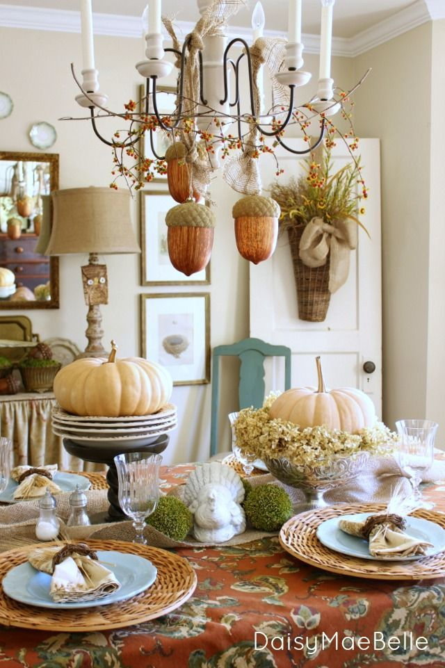 Fall Dining Room; like the silver pedestal bowl with the pumpkin and dried hydrangeas. Can use Donu0027s momu0027s silver. & The Importance of an