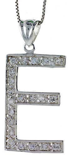 Sterling Silver Cubic Zirconia Block Initial Letter E Alphabet