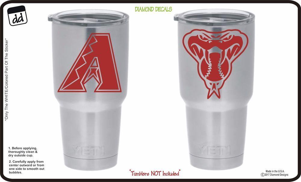 Arizona diamondbacks set of 2 vinyl decals for yeti tumbler vinyl mlb baseball