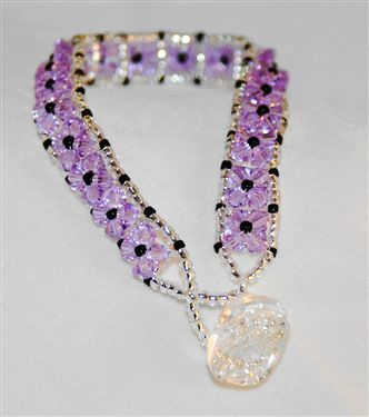 Square Stitch Lavender Tennis Bracelet