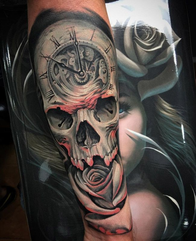 Fusion Of A Clock Face Skull And A Rose Done On Guys Forearm This Piece Was Created By The Valencia Based Skull Rose Tattoos Rose Tattoos Rose Tattoo Sleeve