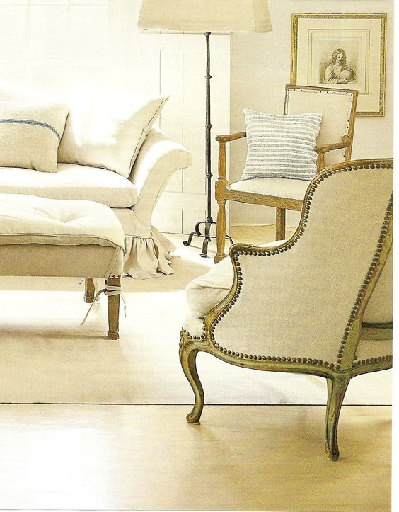 Shannon Bowers Linen Antique Chairs And Sofa