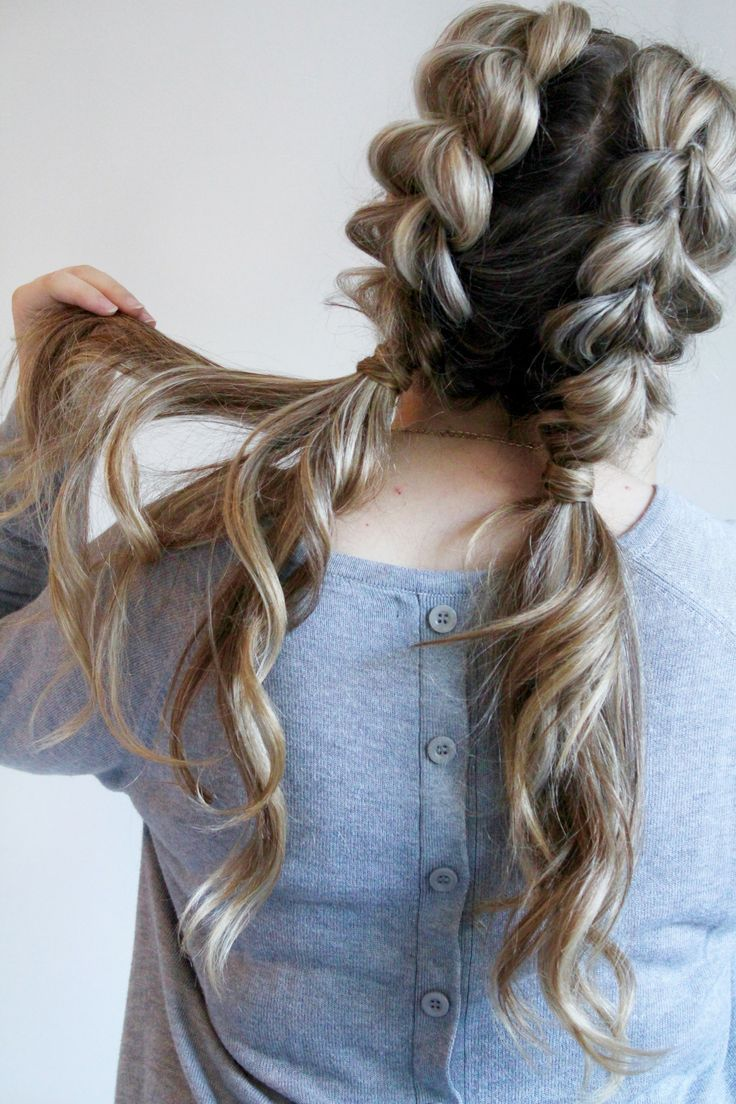 Jumbo pull through braid pigtails tutorial braided pigtails big