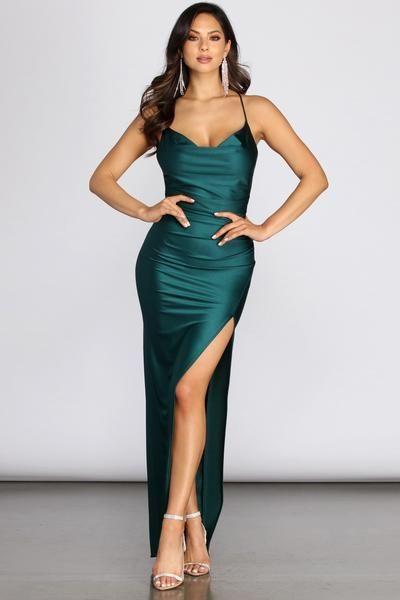 Arabella High Slit Cowl Neck Dress