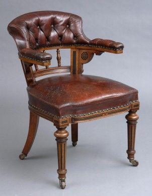 English Antique Victorian Oak Leather Desk Chair By Marsh Jones Vintage Desk Chair Victorian Desk Chair