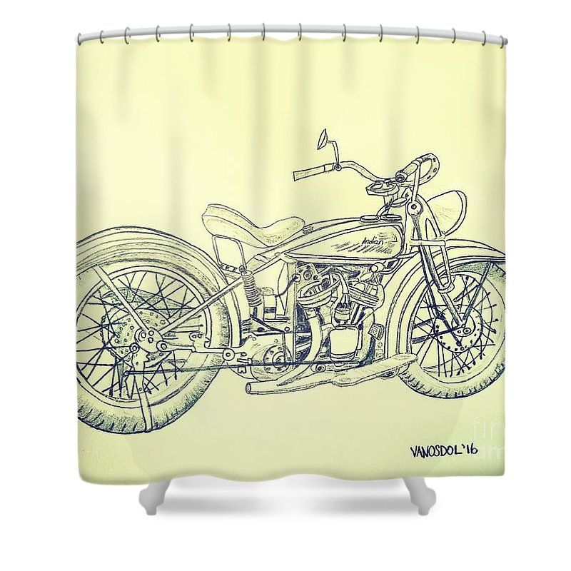 1920 Indian Motorcycle Graphite Pencil Aged Shower Curtain For Sale By Scott D Van Osdol With Images Custom Choppers Indian Motorcycle