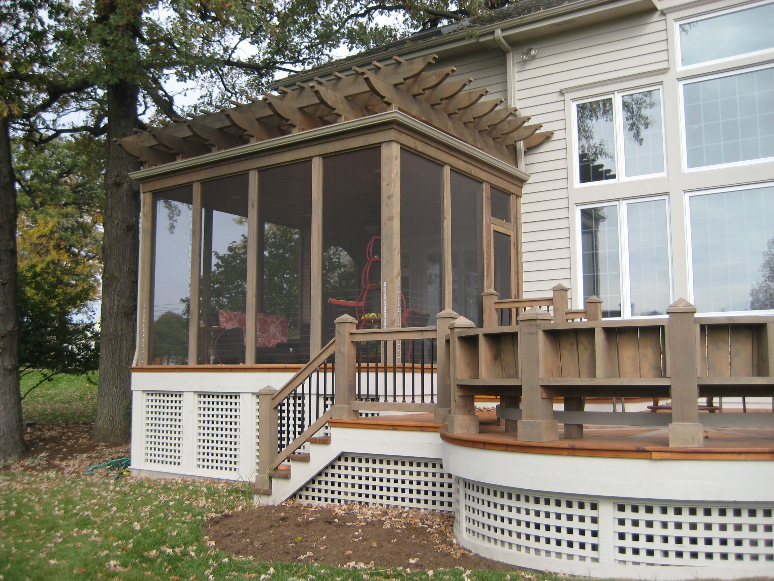 Mccloud associates llc screened porch with pergola roof architecture by mccloud - Screen porch roof set ...