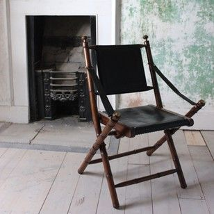 1970s French Folding Chair In Leather   Decorative Collective