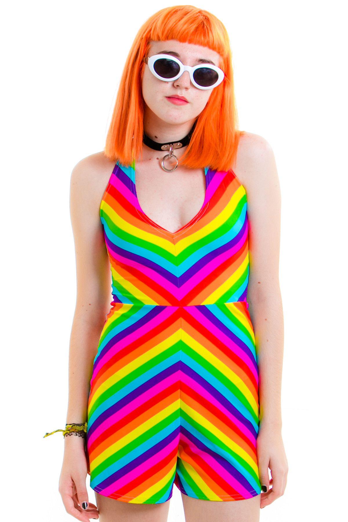 Candy Stripe Playsuit Want Rainbow Fashion Striped