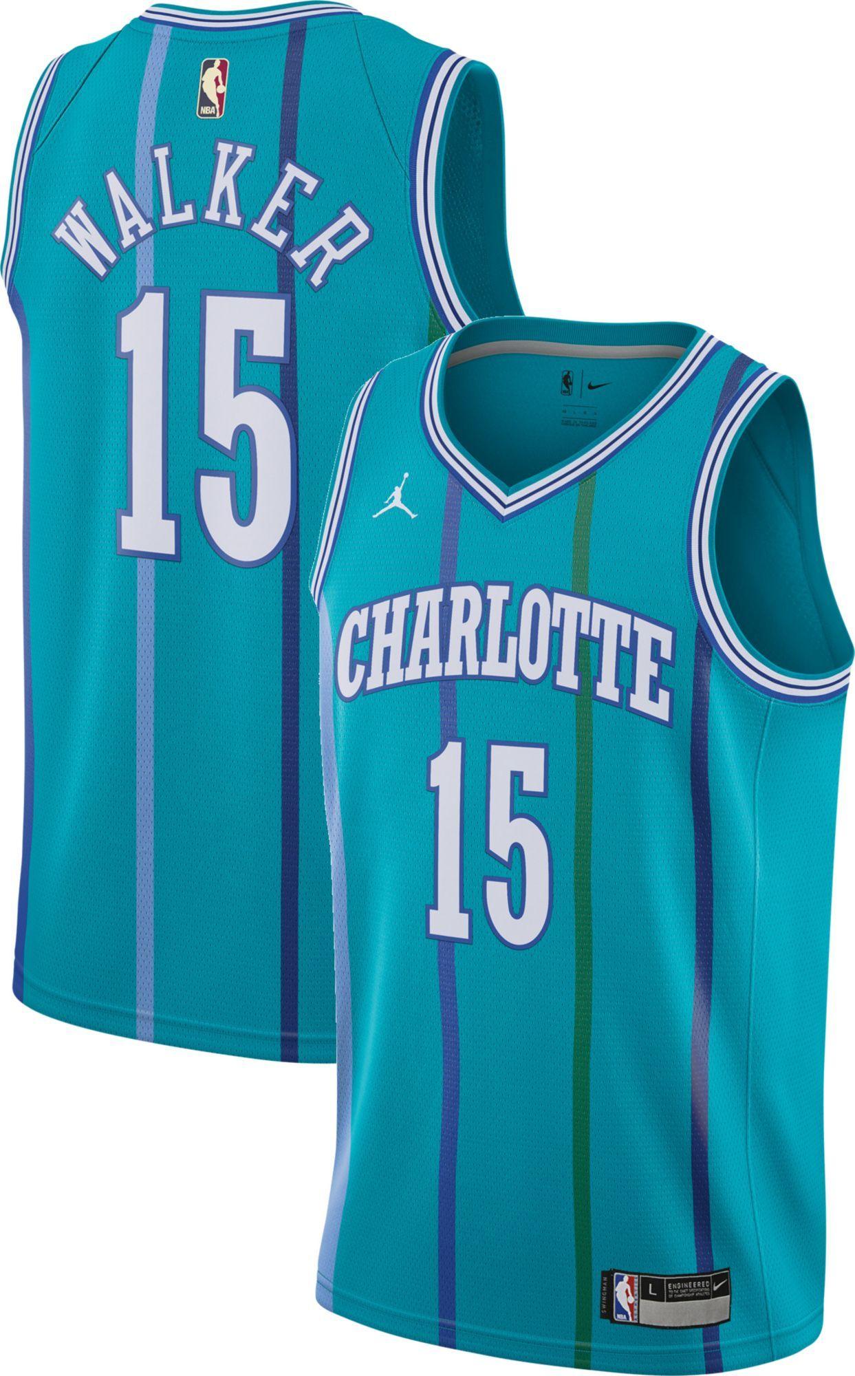 f8d04aca5 Jordan Youth Charlotte Hornets Kemba Walker  15 Teal Hardwood Classic Dri- FIT Swingman Jersey