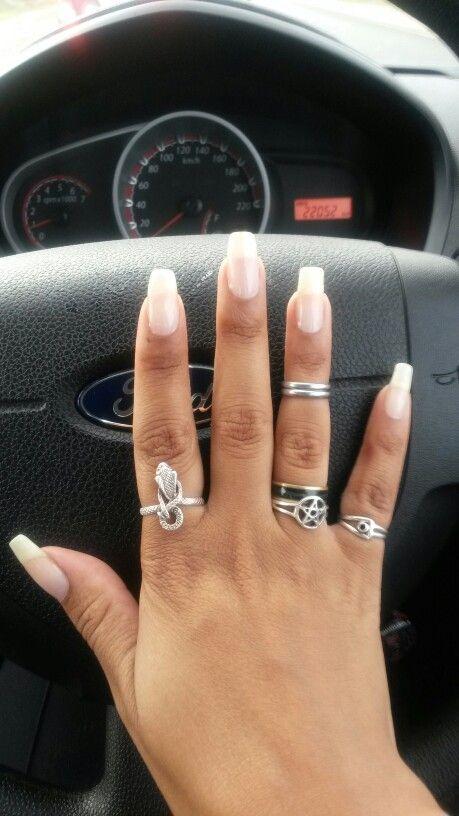 Natural long nails #nails #rings