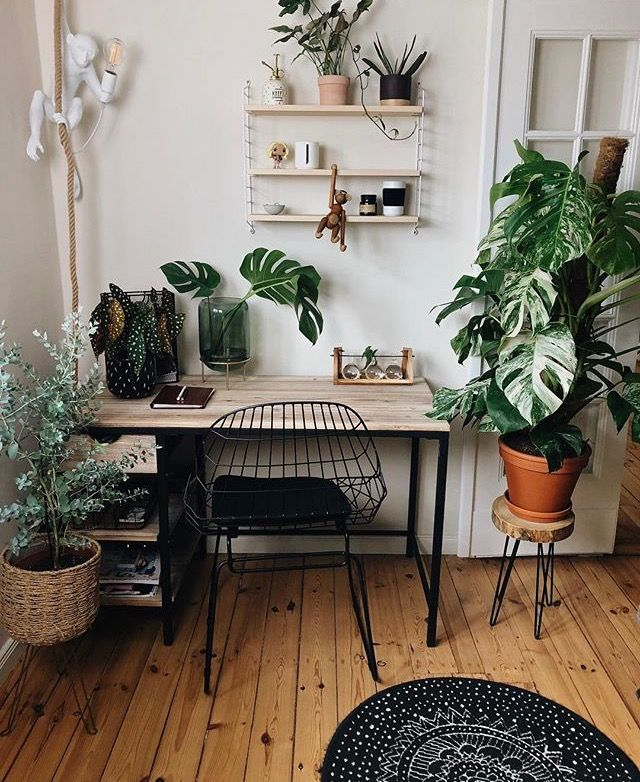 Pin By Zuhairah On House Plant Decors Cute Desk Decor Scandinavian Interior Home Office Design