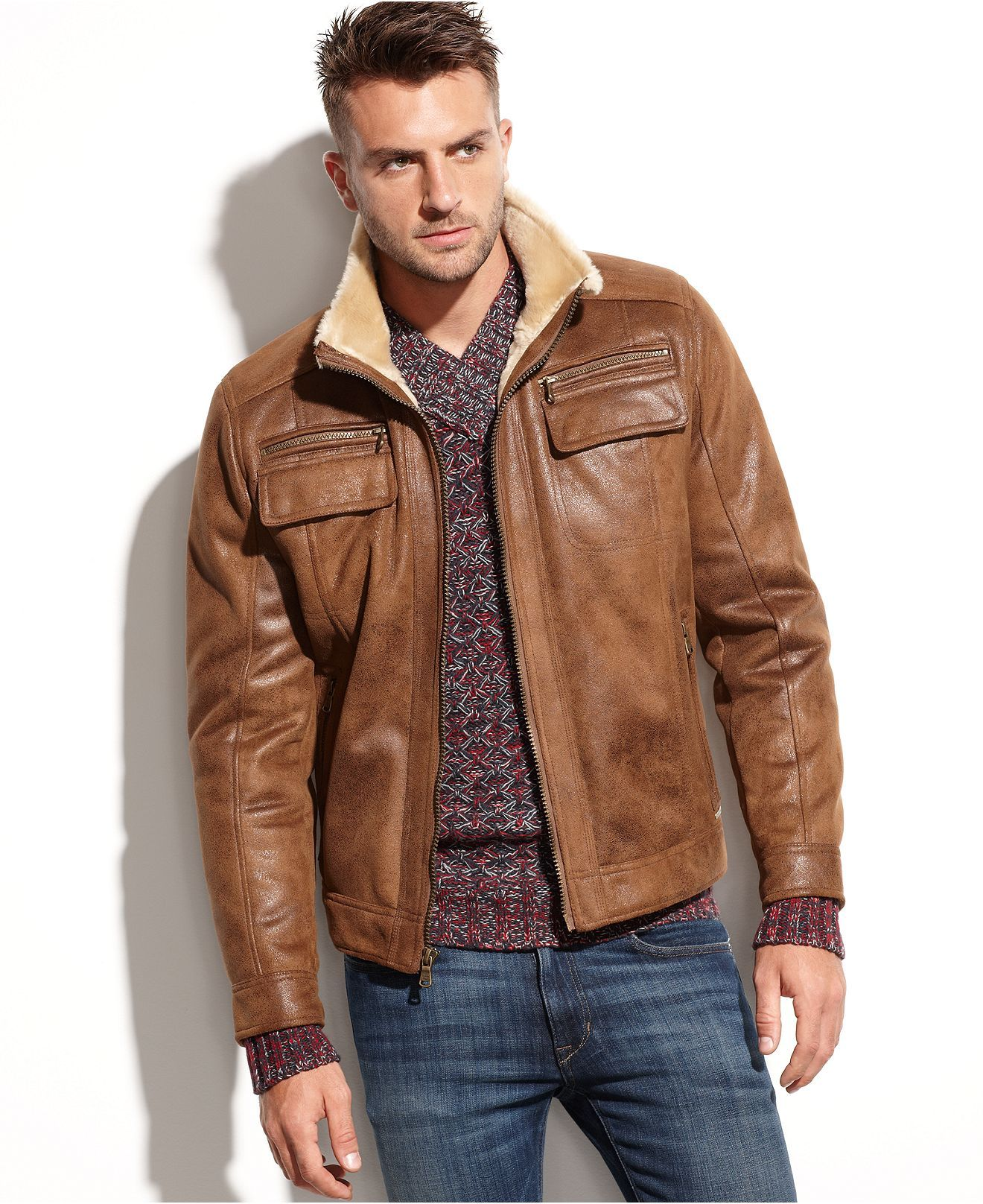 9f8322b06 Calvin Klein Jacket, Faux Shearling-Lined Faux Leather Jacket - Coats &  Jackets - Men - Macy's
